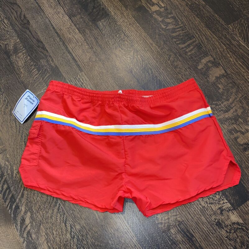 NOS Vtg 70s 80s PIERRE BONEE Swim Trunks Surf Track Shorts NEW Retro MENS LARGE