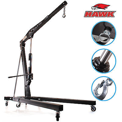 HAWK HEAVY DUTY 2 TON CAR WORKSHOP MECHANIC FOLDING HYDRAULIC ENGINE CRANE LIFT
