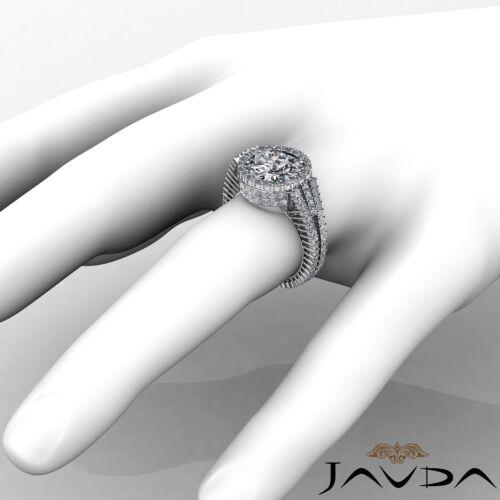 3.5ct Round Cut Diamond Halo Prong Set Engagement Ring GIA F VS2 14k White Gold 3