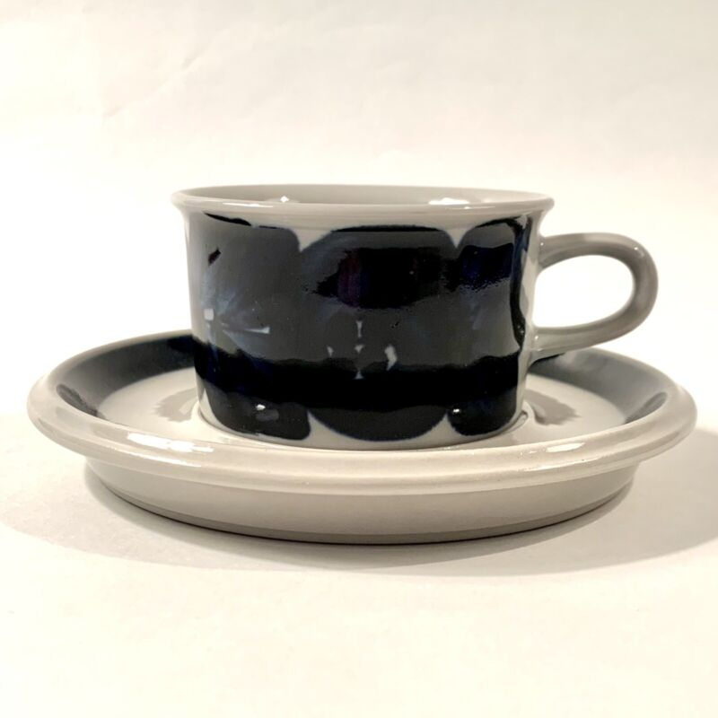 Arabia Anenome Demitasse Cup & Saucer, Ulla Procope, Finland, Hand Painted