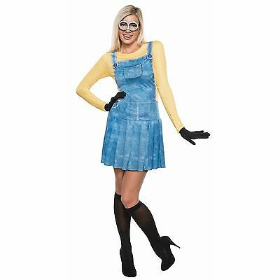 NWT ADULT FEMALE MINION HALLOWEEN COSTUME OUTFIT - SMALL DRESS 2-6 DESPICABLE ME](Minion Halloween Costume Adults)