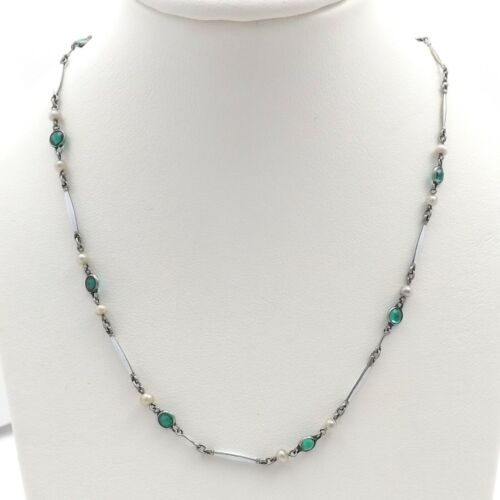 Art Deco Rare Platinon Enamel Green Crystal Seed Pearl Necklace 16 inch