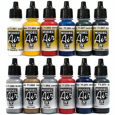 Vallejo Airbrush Farben Set 12x 17ml *Basis - Metallic Airbrushfarben Acryl