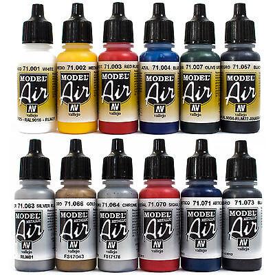 Vallejo Airbrush Farben Set 12x 17ml *Basis - Metallic Airbrushfarben Acryl