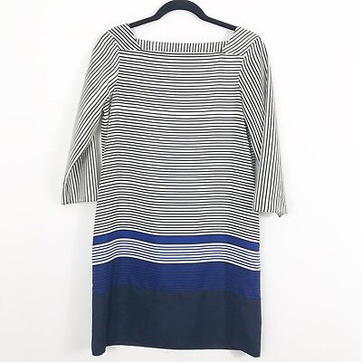 Zara Stripe Shift Dress Size Extra Small Blue Black 3/4 Sleeves Pockets Stripe Shift
