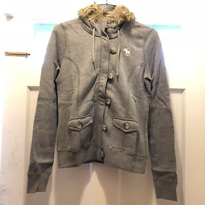 NWT Abercrombie & Fitch A&F Tristen Full Zip Sweater Hoodie Faux Fur Trim L Grey for sale  College Point