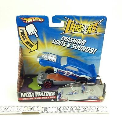 Hot Wheels Crashers Mega Wrecks Blue Lights & Sounds Batteries Required NIP