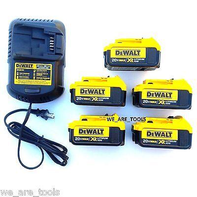 5 New Genuine Dewalt 20V DCB204 4.0 AH Li-on Batteries,(1) Charger For Drill,Saw