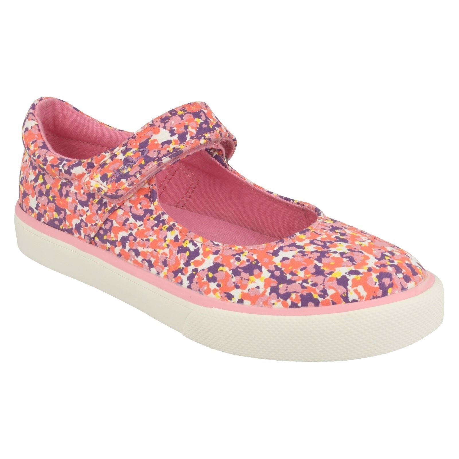 BRILL GEM GIRLS CLARKS RIPTAPE STRAP CASUAL PINK CANVAS SHOES DOODLES PUMPS SIZE