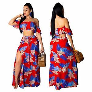 Summer Women Off The Shoulder Crop Top Print High Slit Skirt Suit Dress 2pcs