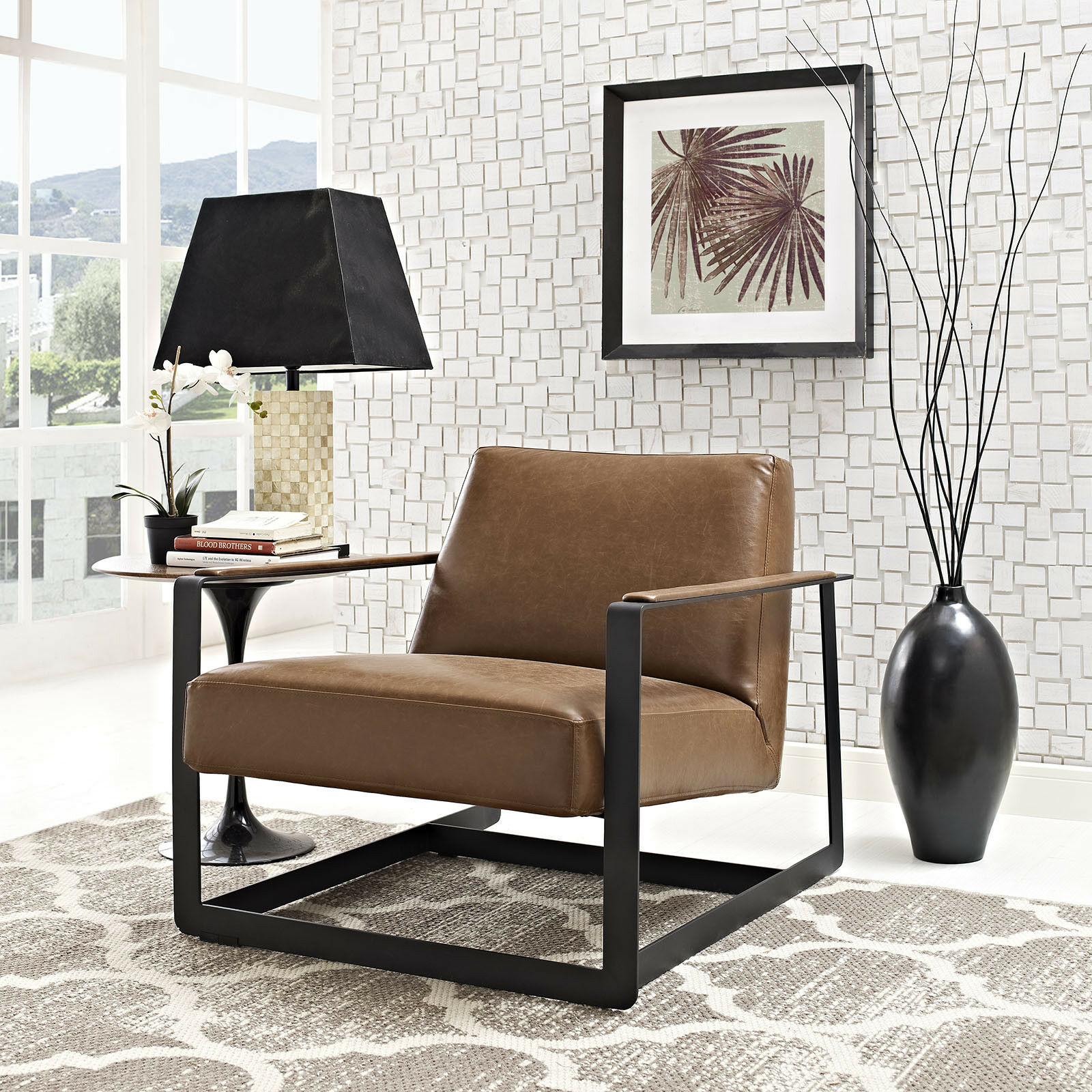 Magnificent Details About Modway Seg Faux Leather Guest Reception Modern Accent Lounge Arm Chair In Brown Machost Co Dining Chair Design Ideas Machostcouk
