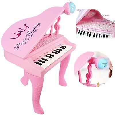 25 Key Kids Electronic Pink Piano Musical Instrument Keyboard Organ Microphone