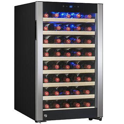 52 Bottle Single Zone Built-in Compressor Freestanding Wine Cooler Refrigerator