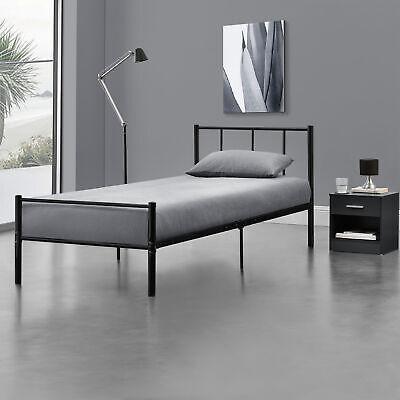 [en.casa] Metallbett 90x200 Schwarz Bettgestell Design Bett Schlafzimmer Metall