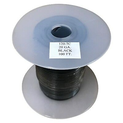 Bee Wire 20ga Primary Wire - Black - 100 Foot Spool Part 120-7