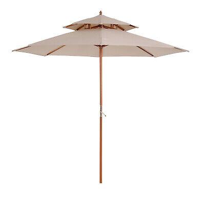 2.7 m Double Tier Outdoor Patio Garden Sun Umbrella Sunshade Wooden Parasol