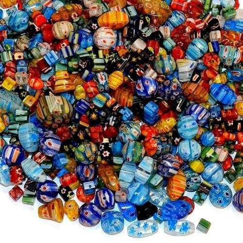 GW4443 Assorted Color Mixed Shape 4mm - 20mm Millefiori Flower Glass Beads 16oz