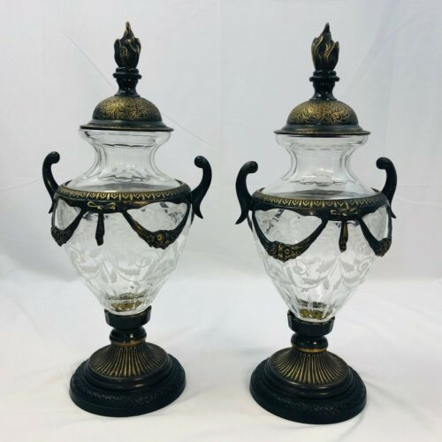 Pair of Antique Castilian Imports Etched Glass Bronze Urns Very Heavy Thick