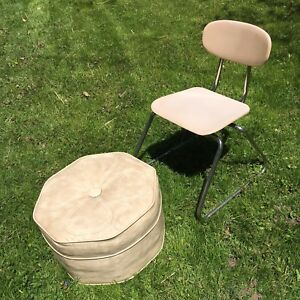 Midcentury vintage vinyl footstool  Heywoodite child's chair