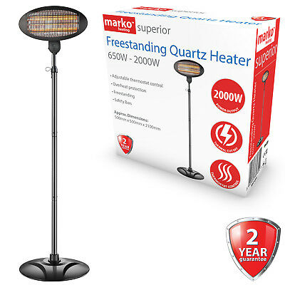 2KW Quartz Patio Heater Freestanding Outdoor Electric Garden BBQ 3 Heat Settings