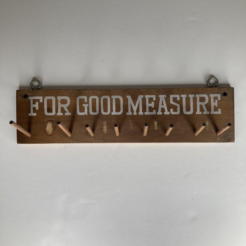 """Vintage wooden measuring cup hanging rack / holder JAPAN """"For Good Measure"""""""