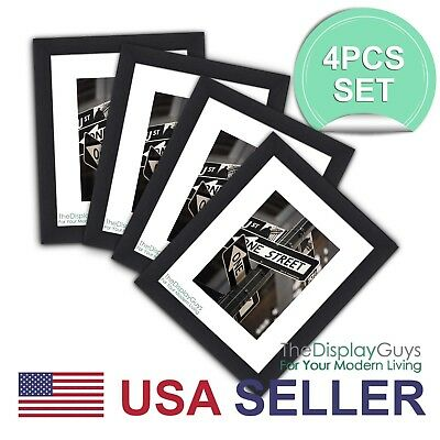 4Sets of 11x14 Black Wall Poster Picture Wooden Frame w White Mat for 8X10 Photo
