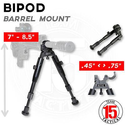 "Rifle Bipod Barrel Clamp Mount 7""-8.5"" Height Folds,Aluminum .450"" to 0.750"" dia"