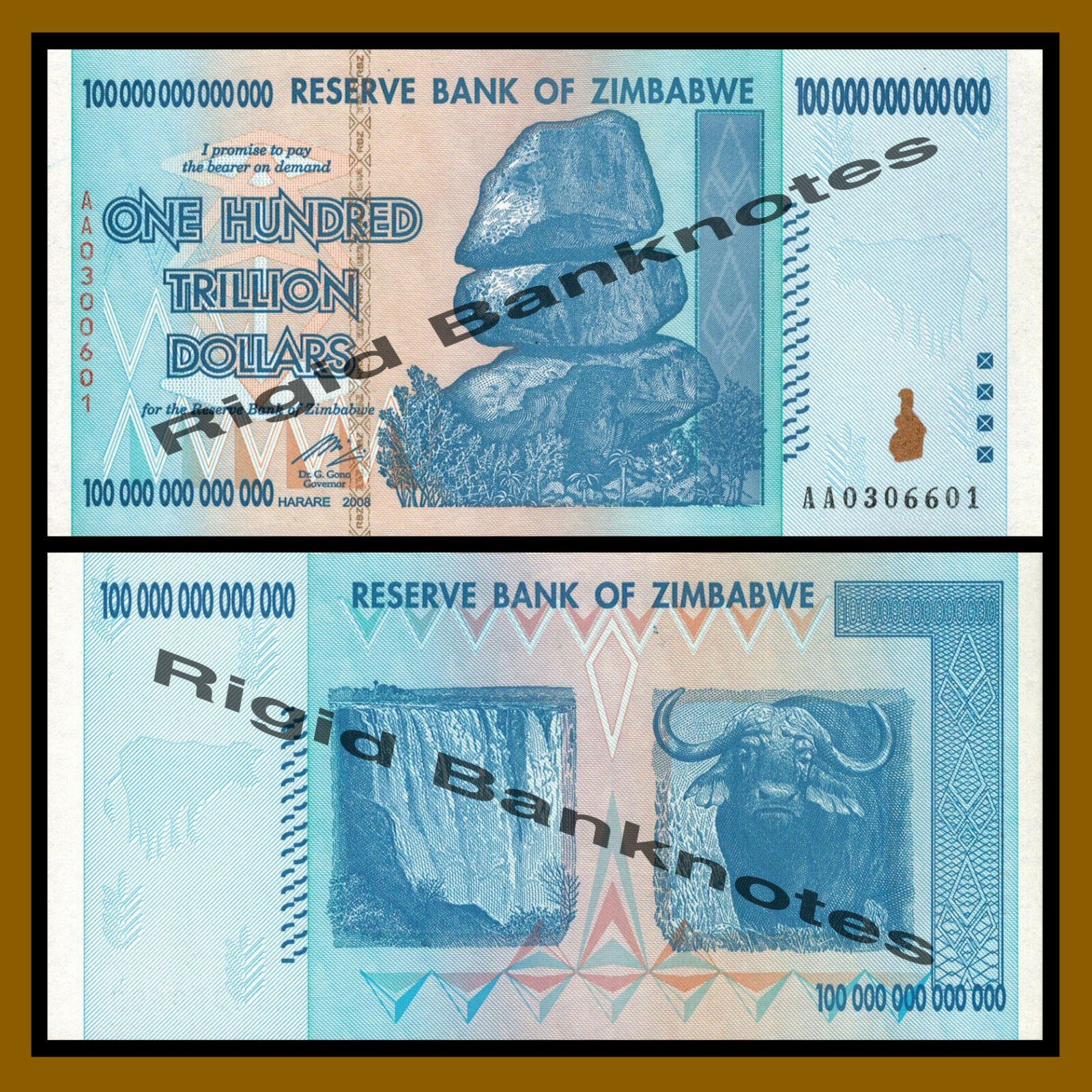 Zimbabwe 100 Trillion Dollars (Bundle Brick) x 1000 Pcs