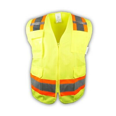 Surveyor Lime Two Tones Safety Vest Ansi Isea 107-2015 Photo Id Pocket