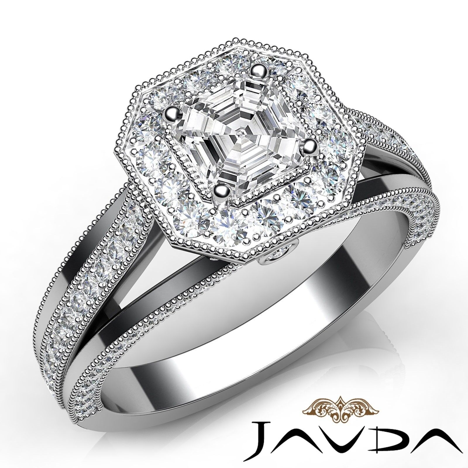 1.92ctw Trio Shank Milgrain Asscher Diamond Engagement Ring GIA I-VS1 White Gold