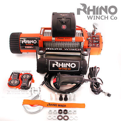 12v 4x4 Electric Recovery Rhino Winch 13500lb - Two Remotes (Not 13000lb)