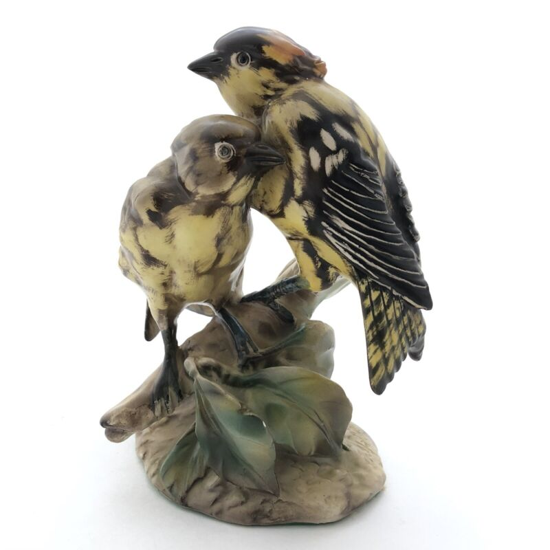 Vintage Italian Porcelain Birds on Branch Figurine Yellow Brown Italy Signed