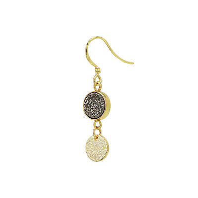 Charlene K Gray Druzy Dangle Earrings with Gold Vermeil -