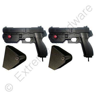 2 x Pack Ultimarc AimTrak Black Arcade Light Guns & Side Holsters...