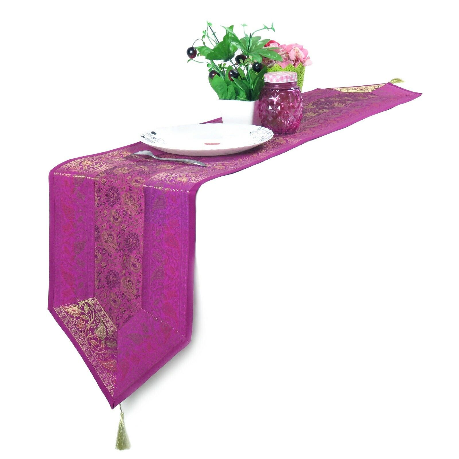 Brocade Table Runner Dining Table Pink Tablecloth Dining Dec