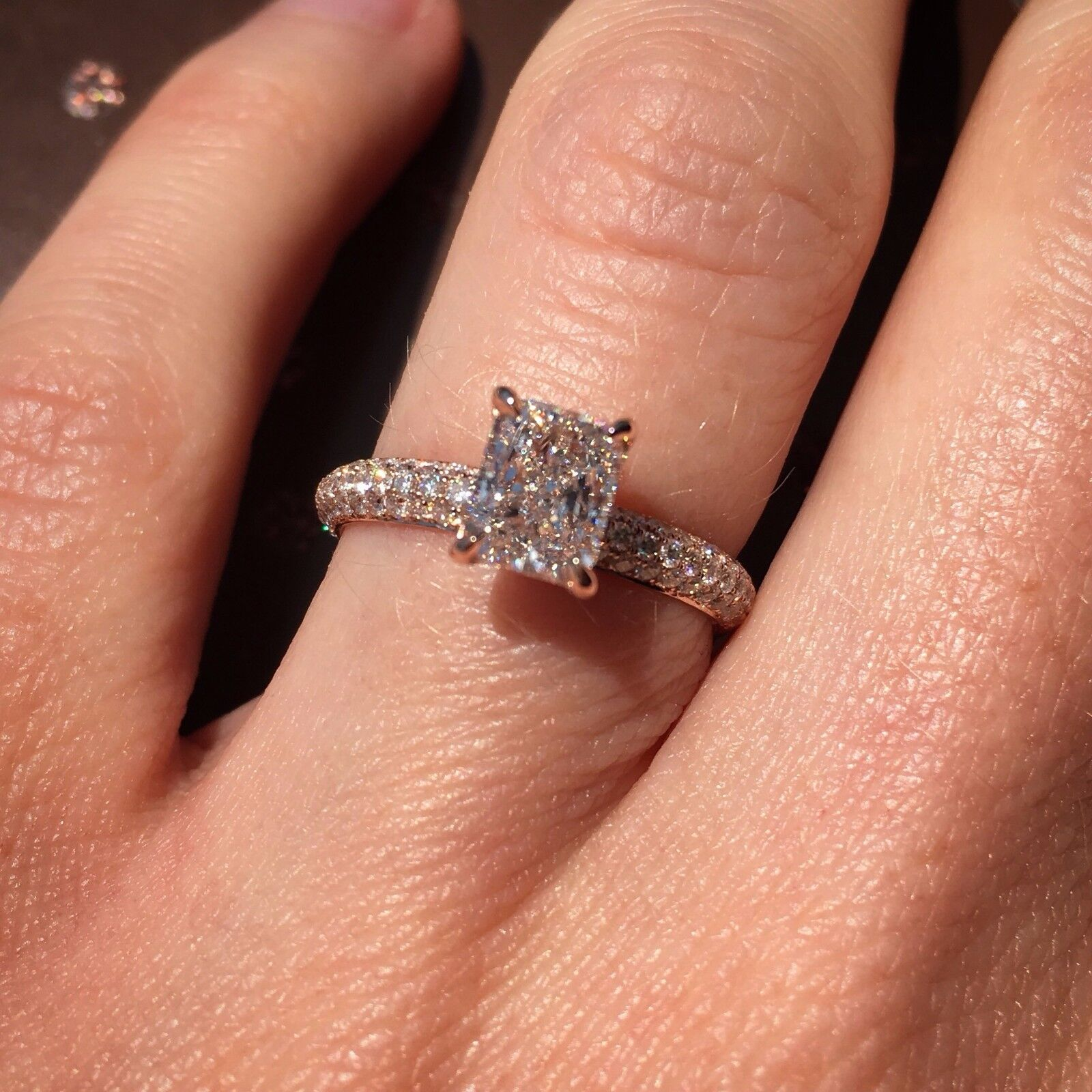 1.60 Ct Natural Radiant 3 Row Micro Pave Diamond Engagement Ring - GIA Certified