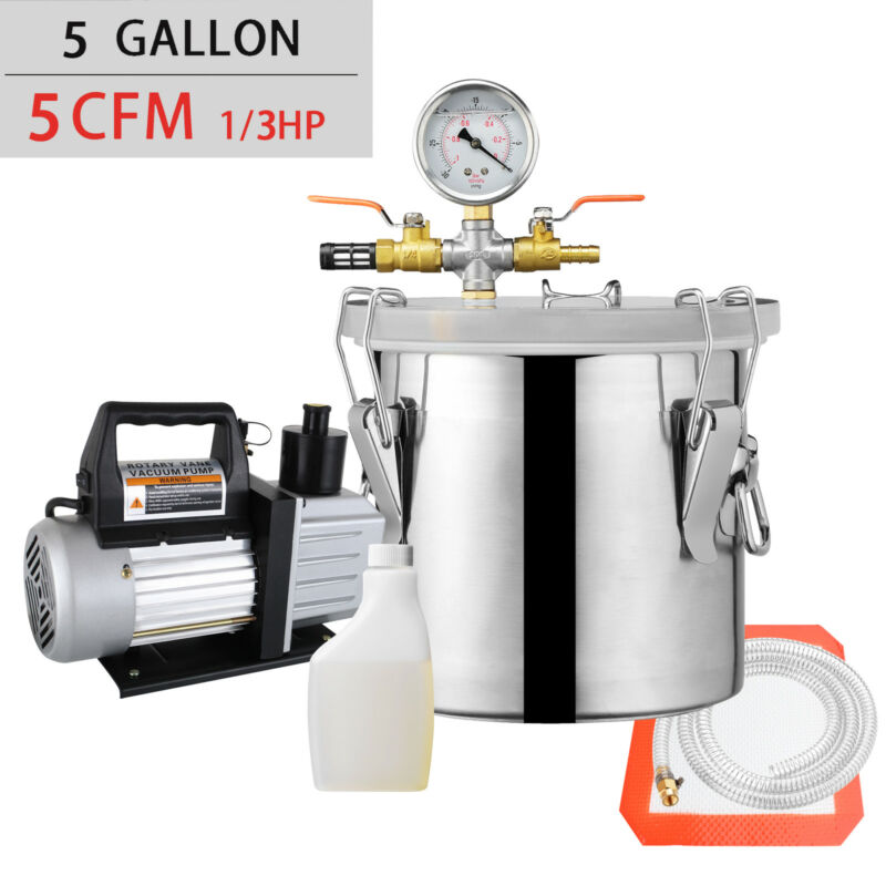 5 Gallon Vacuum Chamber and 5 CFM Single Stage Pump Degassing Silicone Kit