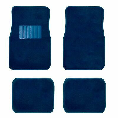 New 4pc Dark Blue Carpet Floor Mat Set Front Rear W/ Vinyl Heel Pad Universal
