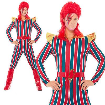 Space Superstar Costume 70s 80s Ziggy Stardust Adult Mens Fancy Dress Outfit