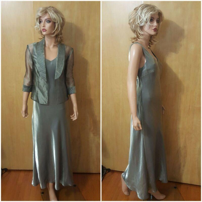 WOMENS PETITE ALEX EVENINGS SAGE GREEN LONG 2 PIECE DRESS ~ 12P