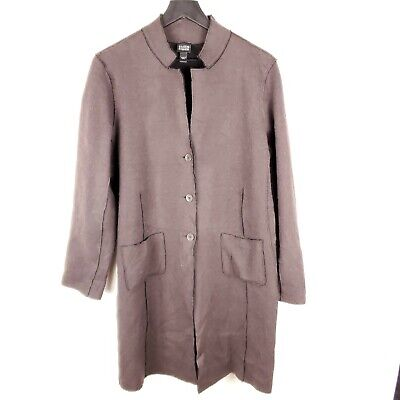 Eileen Fisher Large Jacket Coat Merino Wool Dark Brown Button Closure Women