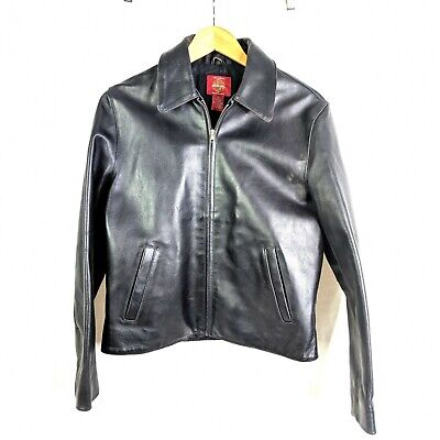Gap Leather Jacket Womens M Black Zip Front Heavy Lined for sale  Shipping to India