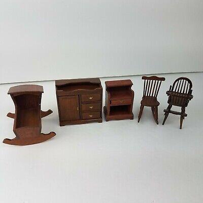 Lot Of Vintage Dollhouse Wood Furniture Baby Nursery Room LOT Cradle Table 1978