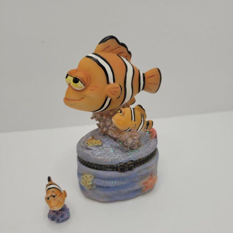 Clown Fish Trinket Box Resin w/ Small Fish Inside VGUC Ocean Pill Box