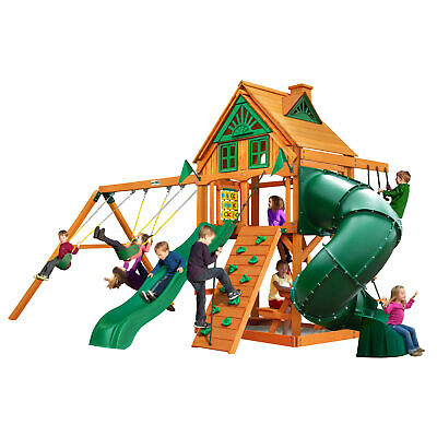 Gorilla Playsets Mountaineer Treehouse With Cedar Wood Outdoor Swing Set For Kid ()