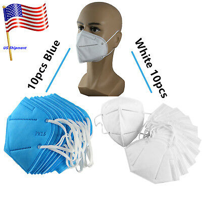 20pc Blue+White Outdoor Disposable Industrial Mask Dust Free Pollen -