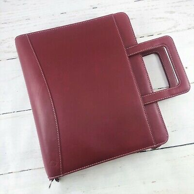 Franklin Covey Red Full-grain Leather Monarch 7 Ring Handles Organizer 13x11