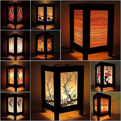 Asian Oriental Bamboo Bedside Table Lamp Decorative Wood Shades Desk Night Light