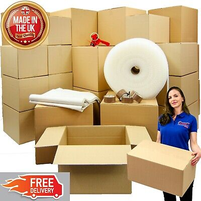 Large House Moving Kit- Cardboard Boxes, Strong Tape, Bubble Wrap, Packing Paper