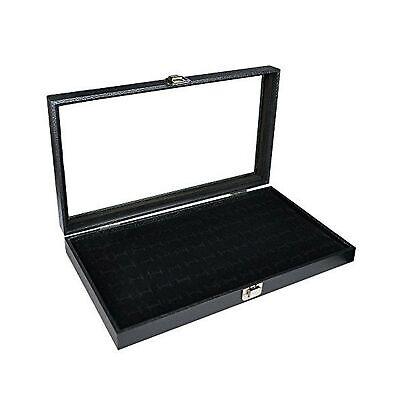 Phuchema Glass Top Black Cufflinks Jewelry Showcase Storage Organizer Display...
